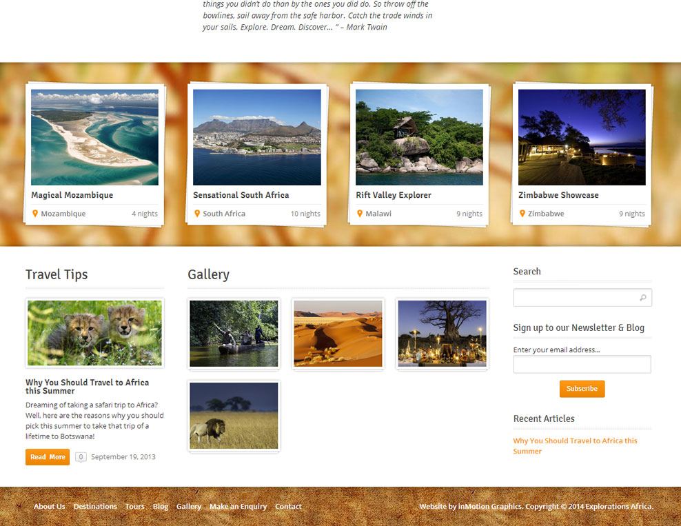 Explorations Africa Home Page Footer