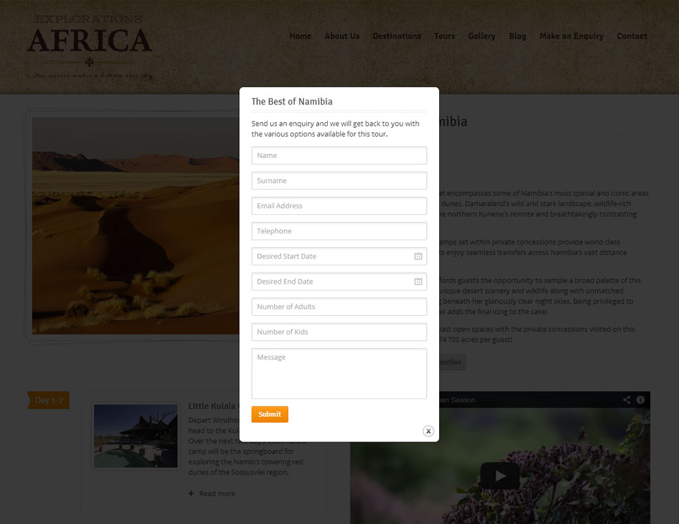 Explorations Africa Tour Enquiry