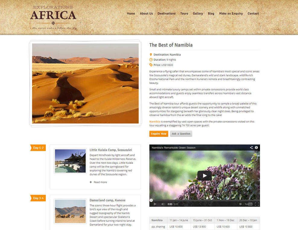 Explorations Africa Tour Page