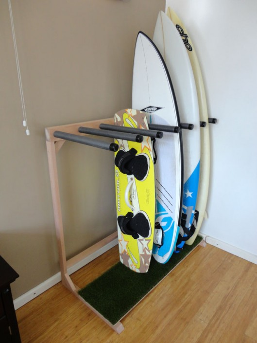 Surfboard Stand with Green Grass & Raw Wood Finish