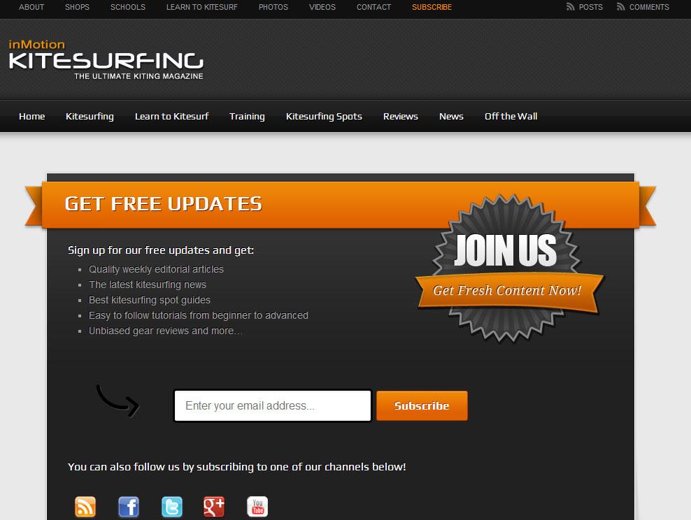 inMotion Kitesurfing | Subscribe Page